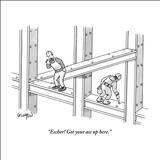 """Escher! Get your ass up here."" - New Yorker Cartoon Stretched Canvas Print by Robert Leighton"