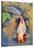 Michael Creese 'Koi with Japanese Maple Leaf' Gallery-Wrapped Canvas Stretched Canvas Print by Michael Creese