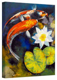 Michael Creese 'Koi Fish and Water Lily' Gallery-Wrapped Canvas Stretched Canvas Print by Michael Creese