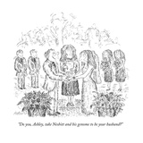 """Do you, Ashley, take Nesbitt and his genome to be your husband?"" - New Yorker Cartoon Premium Giclee Print by Edward Koren"