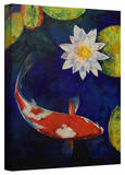 Michael Creese 'Kohaku Koi and Water Lily' Gallery-Wrapped Canvas Stretched Canvas Print by Michael Creese