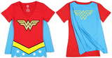 Juniors: Wonder Woman - V-Neck Costume Tee with Cape T-Shirt