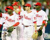 Jimmy Rollins, Chase Utley, & Ryan Howard 2008 NLCS Game 1 Celebration Photo