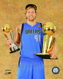 Dirk Nowitzki with the 2011 NBA Championship & MVP Trophies Game 6 of the 2011 NBA Finals Photo