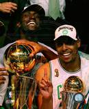 Kevin Garnett & Paul Pierce, Game Six of the 2008 NBA Finals With Trophies Photo
