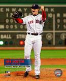 Jon Lester's 2008 No hitter Celebration; Vertical with Overlay Photo