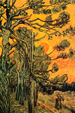 Vincent Van Gogh Pine Trees against a Red Sky with Setting Sun Plastic Sign Plastic Sign by Vincent van Gogh