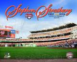 Stephen Strasburg First Pitch First MLB Game 2010 with Overlay Photo