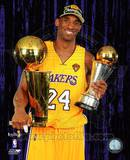 Kobe Bryant with 2010 MVP & Championship Trophies in Studio (29) Photo