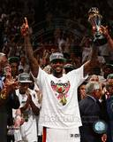 LeBron James with the 2012 NBA MVP Trophy Game 5 of the 2012 NBA Finals Photo