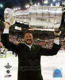 Mario Lemieux Game 7 - 2008-09 NHL Stanley Cup Finals With Trophy Photo