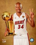 Ray Allen with the NBA Championship Trophy Game 7 of the 2013 NBA Finals Photo