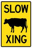 Slow Cow Crossing Plastic Sign - Plastik Tabelalar