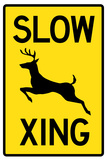 Slow - Deer Crossing Plastic Sign Plastic Sign