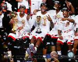 Dwyane Wade, LeBron James, Chris Bosh, & Norris Cole Celebrate after Game 7 of the 2013 NBA Finals Photo