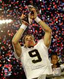 Drew Brees with the Vince Lombardi Trophy Super Bowl XLIV Photo