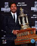 Henrik Lundqvist with the 2012 Vezina Trophy Photo