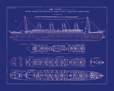 Titanic Blueprint I Giclee Print by  The Vintage Collection