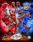 2012 NBA Finals Match-up Composite Oklahoma City Thunder Vs. Miami Heat Photo