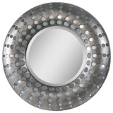 Splendid Antique Silver Circular Mirror Wall Mirror by Jonathan Wilner/ Kelly Stevenson