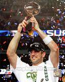 Aaron Rodgers Celebrating with Lombardi Trophy after winning Super Bowl XLV Photo