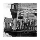 Walter Bonatti on the Balcony of His House in Courmayeur Premium Photographic Print by Sergio del Grande