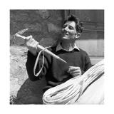 Portrait of Walter Bonatti Smiling with a Climbing Pickaxe in His Hands Premium Photographic Print by Sergio del Grande