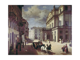 The Facade of the Teatro Alla Scala Giclee Print by Angelo Inganni