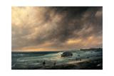 Storm on the Beach of Scheveningen Giclee Print by Canella Giuseppe
