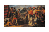The Encounter Between Rachtis King of the Longobards and Pope Zachary During the Siege of Perugia Giclee Print by Ciccio Abate