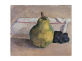 Still Life with Pear and Grapes Giclee Print by Fabbri Paolo Egisto