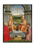 St Thomas Becket and St Martin with Bishop Giovanni Pietro Arrivabene and Duke Guidubaldo Giclée-Druck von Timoteo Viti