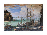 View of a Port Giclee Print by Paul Bril