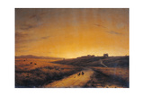 The Dawn Seen From the Countryside Outside Rome Giclee Print by Giuseppe Canella