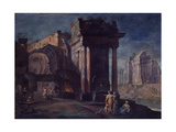 View of Ruins with Metallurgical Factory (Veduta Di Rovine Con Officina Metallurgica) Giclée-tryk af Vittorio Maria Bigari