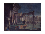 View of Ruins with Statue of an Emperor (Veduta Di Rovine Con Statua Di Imperatore) Giclée-tryk af Vittorio Maria Bigari