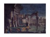 View of Ruins with Statue of an Emperor (Veduta Di Rovine Con Statua Di Imperatore) Giclee Print by Vittorio Maria Bigari