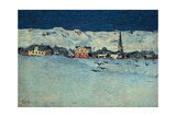 Winter View of Savognino (Savognino Under the Snow) Giclee Print by Giovanni Segantini