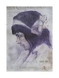 Female Profile with a Ribbon in Her Hair (Profilo Femminile Con Fiocco Tra I Capelli) Giclee Print by Eugenio Prati