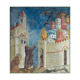 Stories of St Francis St Francis Drives the Devils Out of Arezzo Giclee Print by  Giotto