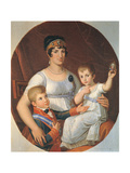 The Queen of Etruria Maria Louisa of Bourbon with Children Charles Louis and Maria Louisa Charlotte Giclee Print by Pietro Benvenuti