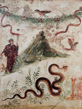 Bacchus and the Vesuvius, 79, 1st Century, Mural (Fresco) Giclee Print by Unknown Artist