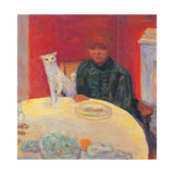 Woman with a Cat Gicleetryck av Pierre Bonnard
