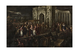 The Doge and the Patriarch Welcoming Henri III Giclée-Druck von Andrea Vicentino