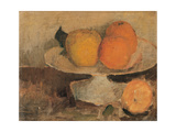 Still Life: Shelf with Oranges and Apples Giclee Print by Fabbri Paolo Egisto