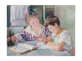 Studying Children Giclee Print by Armando Spadini