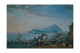 Naval Battle Opposing Anglo-Bourbon and Republican Ships in the Procida Canal Reproduction procédé giclée par Della Gatta Saverio