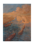 The Canal Suez (Trade Routes) Giclee Print by Gaetano Previati