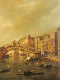 The Rialto Bridge and the Riva Del Vin (Venice) Giclee Print by Guardi Francesco