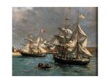 Camaret Dock Giclee Print by Eugène Boudin